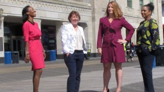 The four women who run Atlantic City casinos pose for photos on the Atlantic City N.J. Boardwalk on Sept. 21, 2020: From left, to right they are: Jacqueline Grace of Tropicana; Terry Glebocki of Ocean Casino Resort; Karie Hall of Bally's, and Melonie Johnson of Borgata. Four of Atlantic City's nine casinos are run by women.