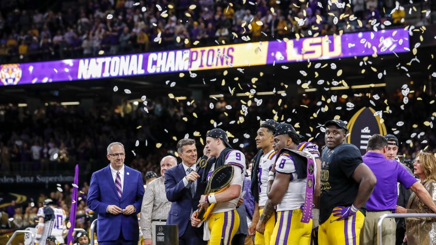 ESPN's Rece Davis interviews Quarterback Joe Burrow #9 of the LSU Tigers on stage after the College Football Playoff National Championship game against the Clemson Tigers at the Mercedes-Benz Superdome on January 13, 2020 in New Orleans, Louisiana. LSU defeated Clemson 42 to 25.
