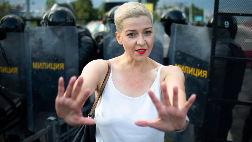 In this Sunday, Aug. 30, 2020 file photo, Maria Kolesnikova, one of Belarus' opposition leaders, gestures during a rally in Minsk, Belarus. Maria Kolesnikova, a leading opposition activist and several other members of an opposition council in Belarus went missing Monday Sept. 7, 2020, and their colleagues feared they were detained as part of the authorities' efforts to squelch nearly a month of protests against the re-election of the country's authoritarian leader.