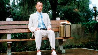 """Tom Hanks on the set of """"Forrest Gump,"""" directed by Robert Zemeckis, in 1994."""