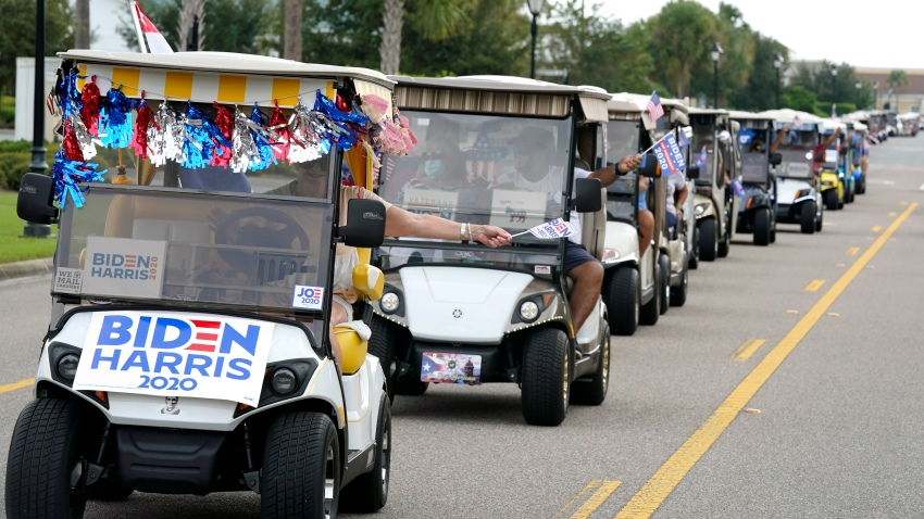 A parade of over 300 golf carts supporting Democratic Presidential candidate Joe Biden