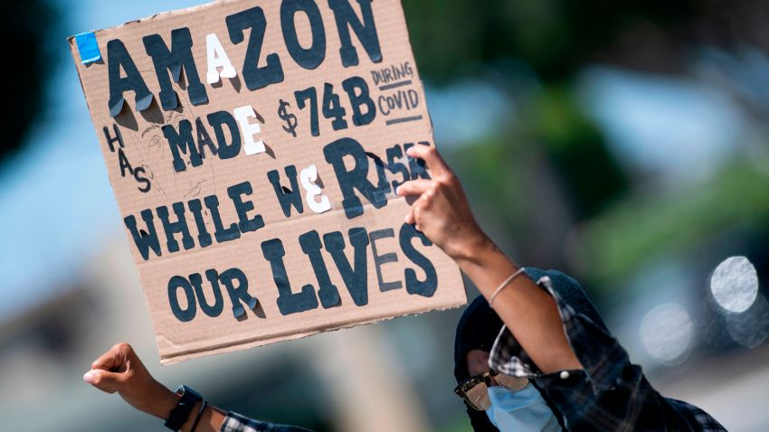 Workers protest against the failure from their employers to provide adequate protections in the workplace of the Amazon delivery hub