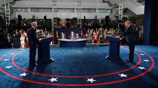 President Donald Trump, right, and Democratic presidential nominee Joe Biden participate in the first presidential debate at the Health Education Campus of Case Western Reserve University on Sept. 29, 2020 in Cleveland, Ohio.