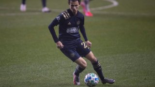 Brenden Aaronson #22 of Philadelphia Union controls the ball against the Montreal Impact