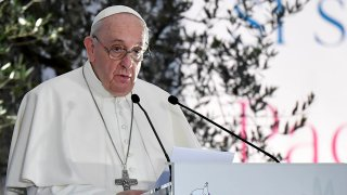 In this Oct. 20, 2020, file photo, Pope Francis delivers a speech during a ceremony for peace with representatives from various religions in Campidoglio Square in Rome.