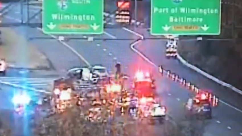 Multiple vehicles are on Interstate 95, near the split with Interstate 495, after a crash near the Pennsylvania and Delaware state lines.