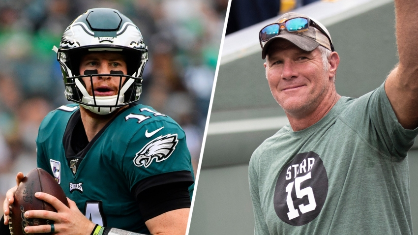 Quarterbacks Carson Wentz and Brett Favre