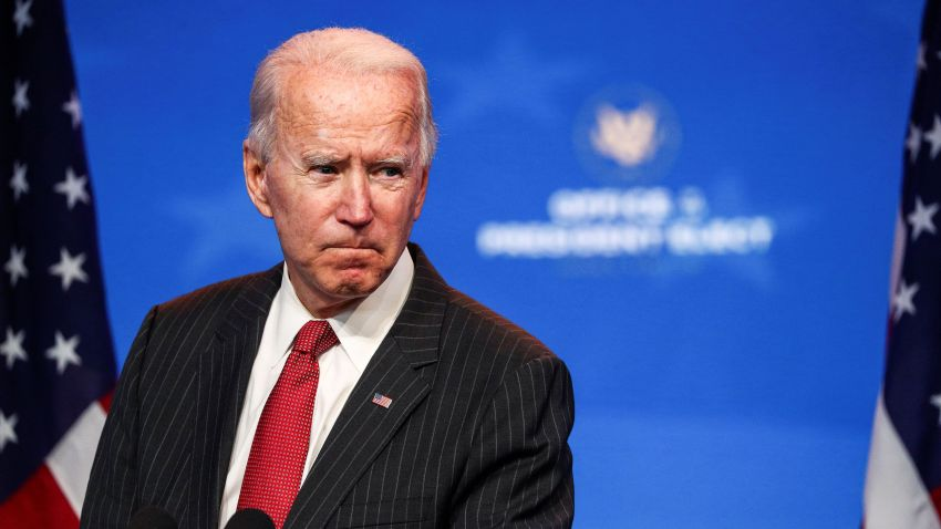 U.S. President-elect Joe Biden speaks to reporters following an online meeting with members of the National Governors Association (NGA) executive committee in Wilmington, Delaware, U.S., November 19, 2020.