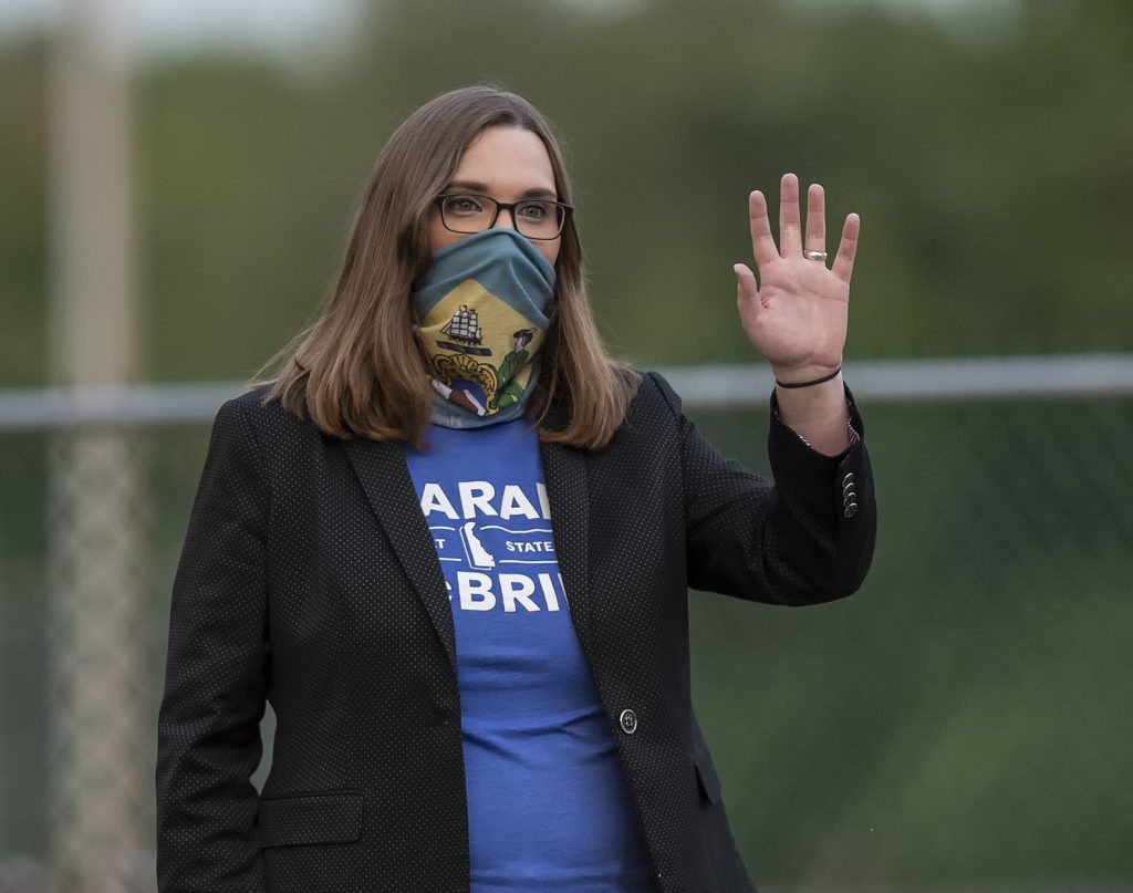 Transgender activist Sarah McBride, pictured, in this Tuesday, Sept. 15, 2020, file photo.