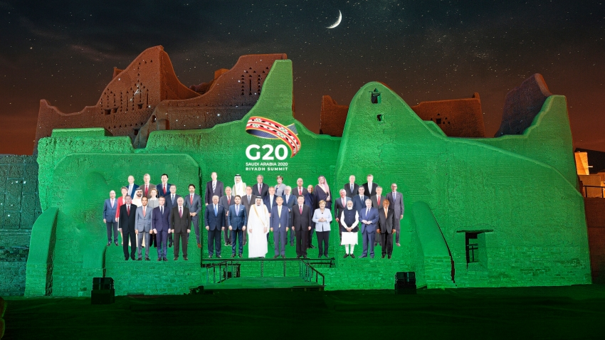 Members of the G20 are projected onto the walls of Salwa Palace