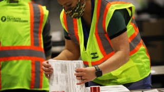 Election workers count ballots in Philadelphia