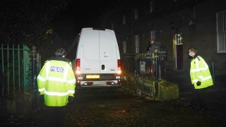 A prison van believed to contain former nurse Lucy Letby leaves Chester Crown Court on November 13, 2020 in Chester, England. Ms. Letby, who worked in the neo-natal unit at Countess of Chester Hospital, is accused of murdering eight babies between 2015 and 2016.