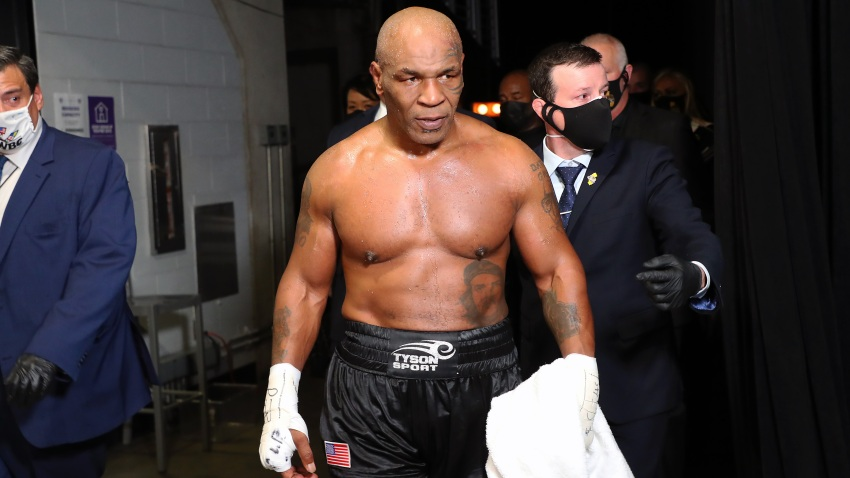 Mike Tyson exits the ring after receiving a split draw against Roy Jones Jr. during Mike Tyson vs Roy Jones Jr. presented by Triller at Staples Center on November 28, 2020 in Los Angeles, California.