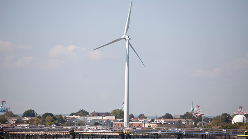 Wind turbine off coast
