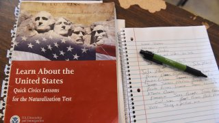 a US citizenship test review booklet and notes