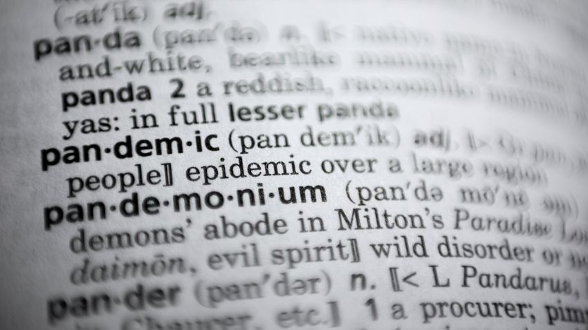 "In this Saturday, Nov. 21, 2020, photo the word pandemic is displayed in a dictionary in Washington. Merriam-Webster on Monday announced ""pandemic"" as its 2020 word of the year."