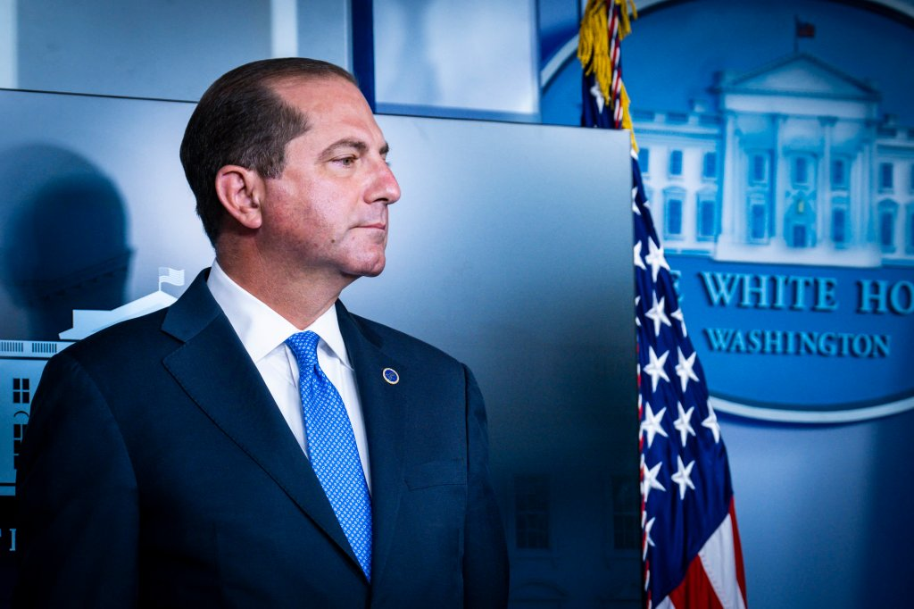 Health and Human Services Secretary, Alex Azar at the White House on August 23, 2020 in Washington, DC.