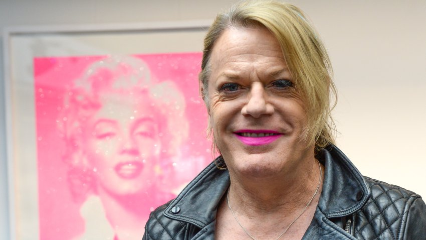 "In this Sept. 24, 2020, file photo, Eddie Izzard attends the ""Icons"" exhibition press view in conjunction with Art Hound Gallery at Riverside Studios in London, England."