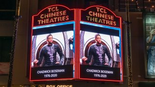 The TCL Chinese Theatre honors actor, Chadwick Boseman on their marquee