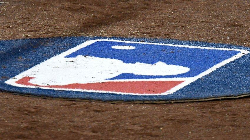 The MLB logo at Nationals Park in Washington, D.C., Sept. 21, 2020.
