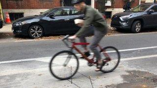 Bicyclist uses a Philadelphia bike lane