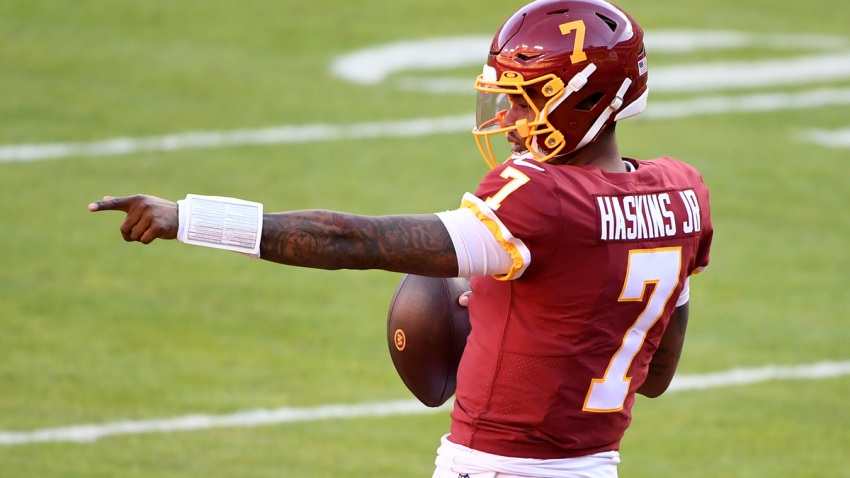 Dwayne Haskins Jr. shown before what would be his final Washington Football Team game
