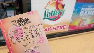 A Mega Millions lottery ticket