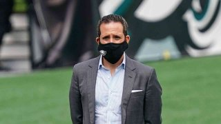 Eagles Executive Vice President Howie Roseman dons a face mask at the team's stadium