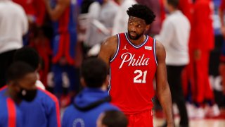 Philadelphia 76ers center Joel Embiid (21) looks to his right during the fourth quarter of a game