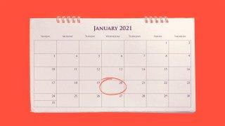 Calendar showing January 2021