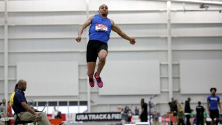 Roderick Townsend performs in the men's long jump final at the USA Track & Field Indoor Championships, Saturday, Feb. 23, 2019, in New York.