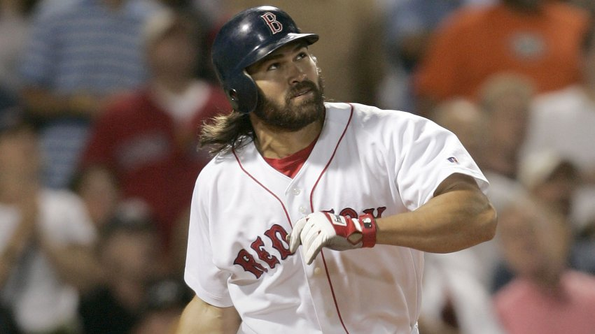 Johnny Damon playing for the Red Sox in 2004