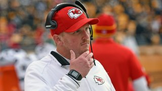 In this Dec. 21, 2014, file photo, quality control coach Britt Reid of the Kansas City Chiefs looks on from the sideline before a game against the Pittsburgh Steelers at Heinz Field in Pittsburgh, Pennsylvania.