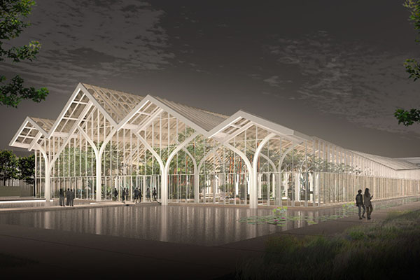 Longwood Gardens West Conservatory rendering at night