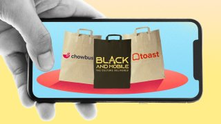 An illustration of a phone screen with chowbus, black and mobile, and toast delivery apps