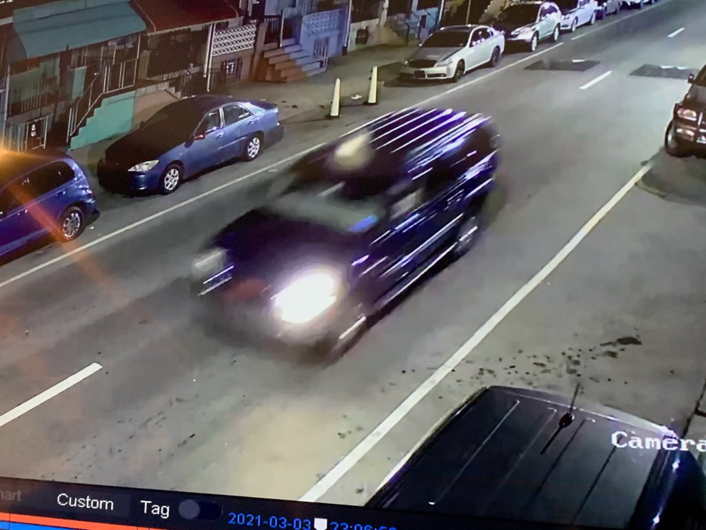 Surveillance image of a blue SUV that Philadelphia police say struck and killed a man on North 2nd Street on March 3, 2021