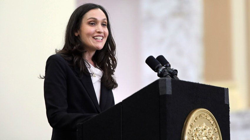 Rachel Wainer Apter, who was nominated by Gov. Phil Murphy to be an associate justice of the state Supreme Court, speaks in the Ruth Bader Ginsburg Hall, at Rutgers University-Newark, Monday, March 15, 2021.