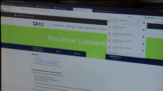 """This screenshot of the New Jersey Motor Vehicle Administration website shows a banner reading, """"First Driver License/ID"""""""