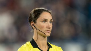 Kathryn Nesbitt, assistant referee, during a game between Toronto FC and New England Revolution