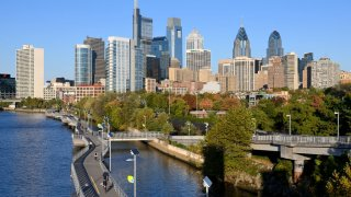 View on the Center City skyline as seen from the South Street Bridge, in Philadelphia, PA, on October 23, 2019.