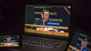 Kim Song, North Korean ambassador to the United Nations, speaks during the United Nations General Assembly seen on a laptop computer in Hastings on the Hudson, New York, U.S., on Tuesday, Sept. 29, 2020.