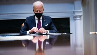 President Joe Biden pauses while speaking during a meeting with Treasury Secretary Janet Yellen and Vice President Kamala Harris in the Roosevelt Room of the White House, March 5, 2021 in Washington, DC.