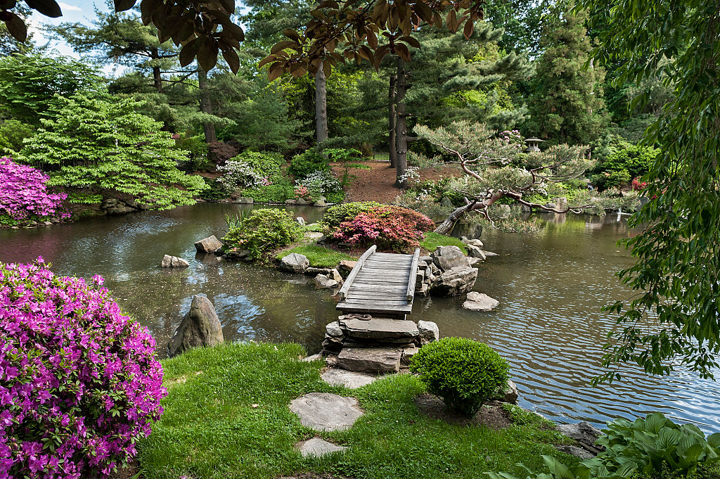 A small bridge goes over a pond at the Shofuso Japanese House and Garden