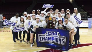 The Drexel University women's basketball team huddle together and pose for photos after a championship win.
