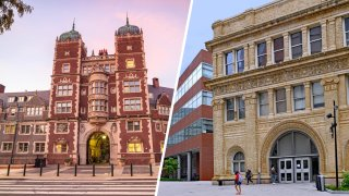Left: two towers stand next to an arch as part of a building at the University pf Pennsylvania: Right: students walk past on old brick building with an arch at Drexel University.