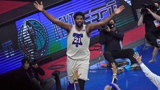 Philadelphia 76ers center Joel Embiid (21) celebrates win against the LA Clippers at Wells Fargo Cente