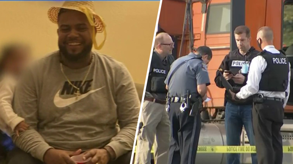 Left: Ramon Ramirez smiles at the camera. Right: Police officers surround Ramirez's truck after he was shot to death at an Upper Macungie Township Wawa.