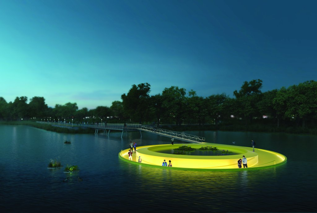 "This digital rendering shows people walk atop an art installation at dusk. The installation, called the ""FloatLab,"" is illuminated as it rests on the Schuylkill River."