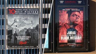 """Film posters for """"Mank"""" (Left) and """"Judas and the Black Messiah."""""""