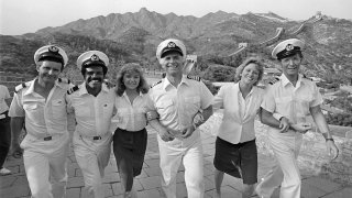 From left to right: Fred Grandy, Ted Lange, Jill Whalen, Gavin MacLeod, Lauren Tewes and Bernie Kopell.